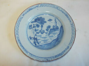 Antique Georgian handpainted Delft Pottery plate.