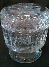 Vintage Avon Cut Glass Trinket Jar Jewelry Container w/ Lid