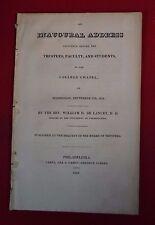 Antique Document: Inaugural Address College Chapel University Penn 1828