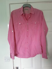 Genuine Ted Baker Men's Pink Checked Shirt Size UK L Large VGC + Clean