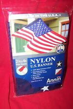 New listing U.S. Banner Flag-Annin-Nylon-Embroide red / Sewn- 2 1/2 X 4 Ft.- Made In The Usa