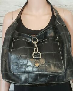 Dooney & Bourke Purse Black Leather Large Tote Lobster Claw Clasp Squares