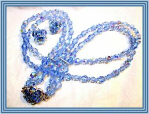 Sherman SKY BLUE AB - DOUBLE STRAND FACETED CRYSTAL BEAD NECKLACE SET NR