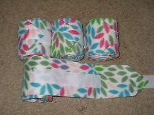 New set of 4 white with rainbow petals horse polo wraps (horse/pony leg wraps)