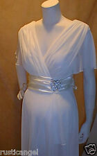 New Ivory Chiffon Vneck Sleeves Maternity Dress Cocktail LARGE Bridal Wedding