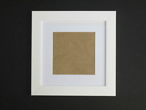 White 7x7 Square Picture  Photo Frame  Mount 4.75x4.75 Hang