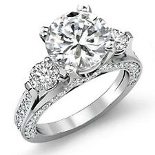3.80 Ct. Round Cut Real Diamond F, SI1 Engagement Ring