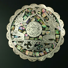 Vintage VHLC Mexican Sterling Silver Abalone Prayer Tribal Pendant Pin Eagle 50