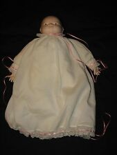 Baby Doll HANDMADE White Christening Gown Girl Pink OOAK One of a Kind Dress Old