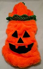Pumpkin Pet Halloween Costume Plush w/ Hoodie 1 piece size S 11 inches - NWT