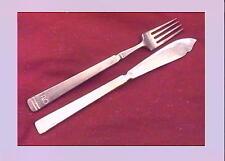 P & O   Set Fish Knife and Fork and a side knife (3).   Tram line design