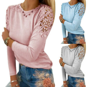 Ladies Long Sleeve Sheer Solid Fashion Casual Womens Top T-Shirt Plus Size New