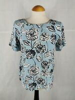 Ladies Top Size 8 WHITE STUFF Blue Floral Smart Casual Day