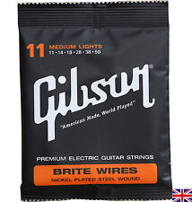 Electric Guitar Strings Gibson Brite Wires Medium Lights 11-50