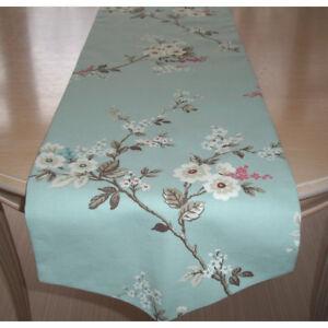 """48"""" Pointed V-End Dining Table Runner 120cm Pink Blue White Blossom Duck Egg 4ft"""