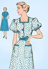 1950s Vintage New York Sewing Pattern 1110 Uncut Misses Shirtwaist Dress Sz 32 B