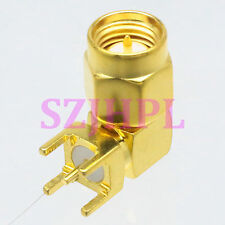 1pce Connector SMA male plug 90° solder PCB mount 5.08mm right angle