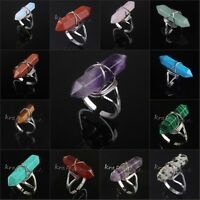 Silver Plated Gemstone Hexagon Beads Healing Point Chakra adjustable Finger Ring
