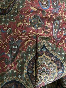 Ralph Lauren Equestrian Paisley Full Queen Comforter Bed Spread quilt ITALY  Red