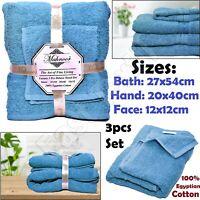 3pc Luxury Towels Bale Set 100% Egyptian Cotton Bath, Hand & Face Bathroom Towel