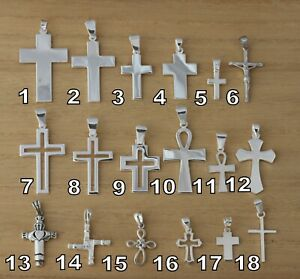 Solid 925 Sterling Silver Plain Cross Crucifix Pendant Various Design and Sizes