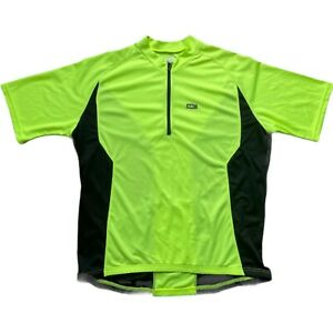 Louis Garneau Men's Cycling Jersey 1/2 Zip Up Neon Yellow Black 2XL