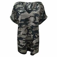 Ladies Army Military Oversized Baggy Camoflauge Top Womens Turn V Neck T-Shirts