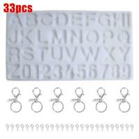 33PCS Silicone Crystal Glue Mould Letter/Number Mold Jewelry Resin Kit DIY I1Q7