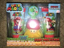 New Nintendo Super Mario Soap & Scrub Gift Set Body Wash Bath Pouf Toy Shampoo