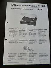 ORIGINALI service manual Saba PSP 1