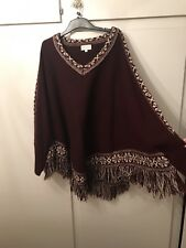 Maroon Jumper With V Neck And Tasselling Size Large