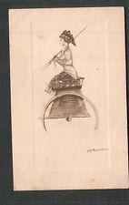 1909 Kathryn Elliott artwork post card woman in wagon/Oxford OH to Emporia KS