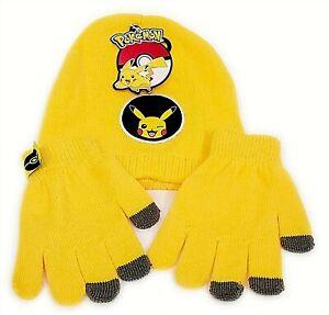 Unisex Kids POKEMON Hat & Glove Set PIKACHU Winter Warm Knitted Boys Girls NEW