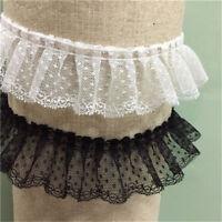 2yds Ruffle Dot Lace Trim Fabric Ribbon Skirt Collar Cuff Hemline 1.96'' Width