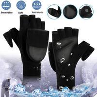Men Women Winter Warm Fliptop Gloves Windproof Thermal Fingerless Converter Warm