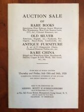 1920 Catalogue Auction Sale Rare Books, Americana, Silver, Furniture, China, NY
