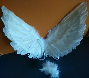 Real Feather Angel Wings Headband Halo White Costume Play Dance Photo Christmas