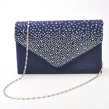 76043ec59 Womens Satin diamante Clutch Bag Evening Bridal Bag Wedding Fashion Prom  Handbag