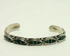 "Vintage Zuni Jennie Epaloos Sterling Silver Natural Malachite Cuff Bracelet 7"""