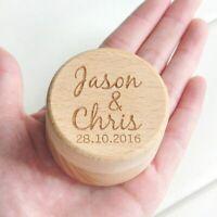 Personalized Rustic Wedding Wood Ring Box Bearer Holder Custom Names Date Wedd