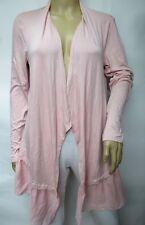 Peck & Peck Stretchy Knit Blush Open Front Chiffon Hem Cardigan Size XL