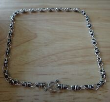 """16"""" Sterling Silver 15g Vintage-look 5 mm Thai Knot Charm Necklace"""