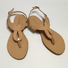 Women's Strappy Sandals Sz 5.5 Beige Nude Tan BAMBOO Braided Style NEW