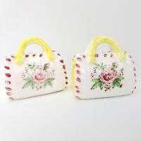 Vintage Japan Ceramic Roses Purse Fashion Handbag Salt and & Pepper Shakers Set