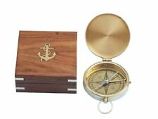 "Nautical Solid Brass Gentlemen's Compass with Rosewood Box, 4"", Brass"