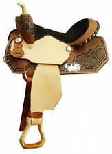 "13"" Youth Kids Childs Horse Pony Show Barrel Floral Basketweave Saddle Semi SQHB"
