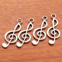 50 Pieces Charms Music Pendant Tibet Silver DIY Jewelry Bracelet Necklace D7113
