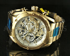 Invicta 50mm Speedway Skeleton Dial Chronograph 18K Gold Plated Bracelet Watch