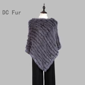 fashion poncho Knitted women's Rabbit Fur Poncho Real Natural Fur Wrap shawl