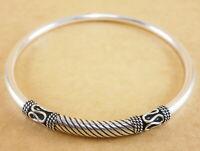 "Handmade 925 Sterling Silver Torque Bangle Bracelet Cuff Beads Bali Style 7"" 3mm"